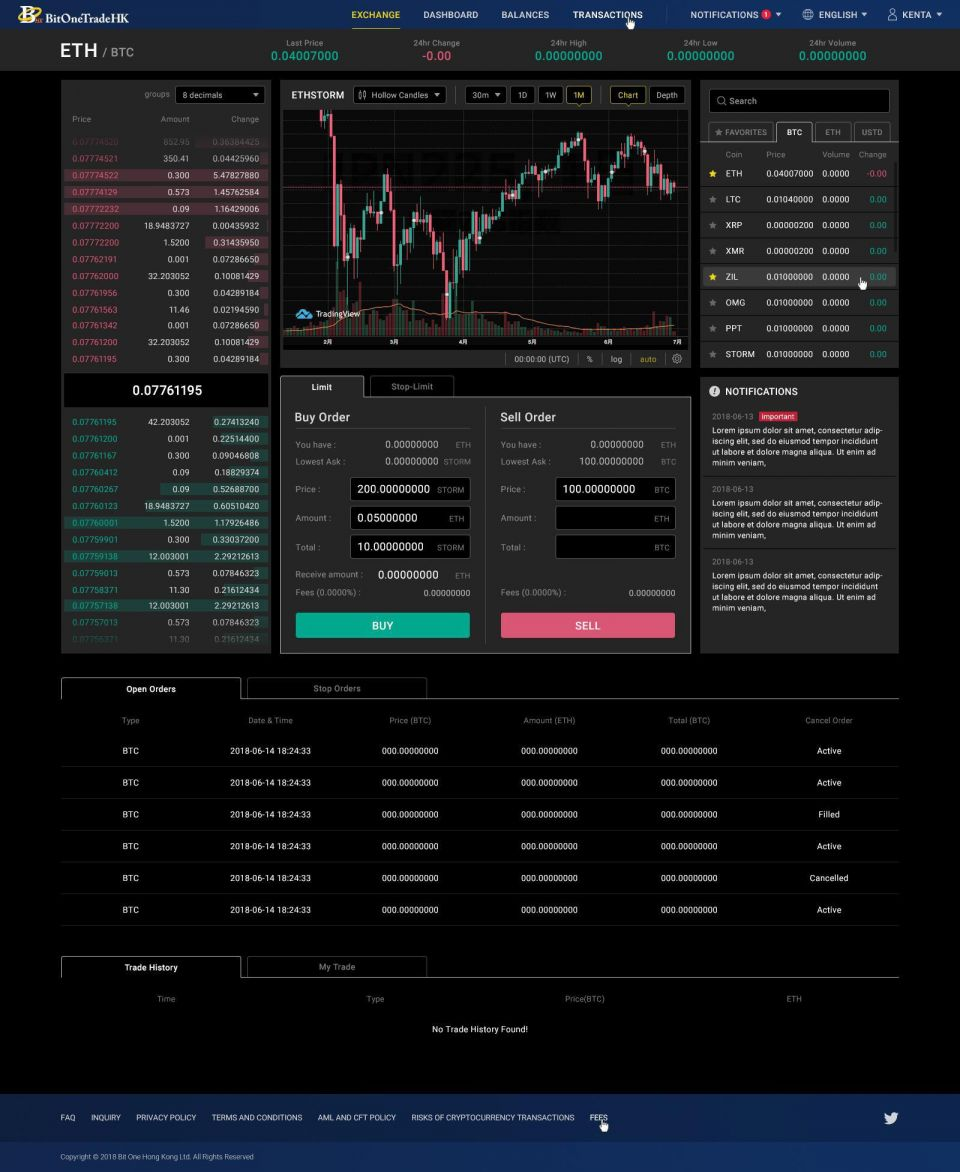 BitOne Trade HK界面