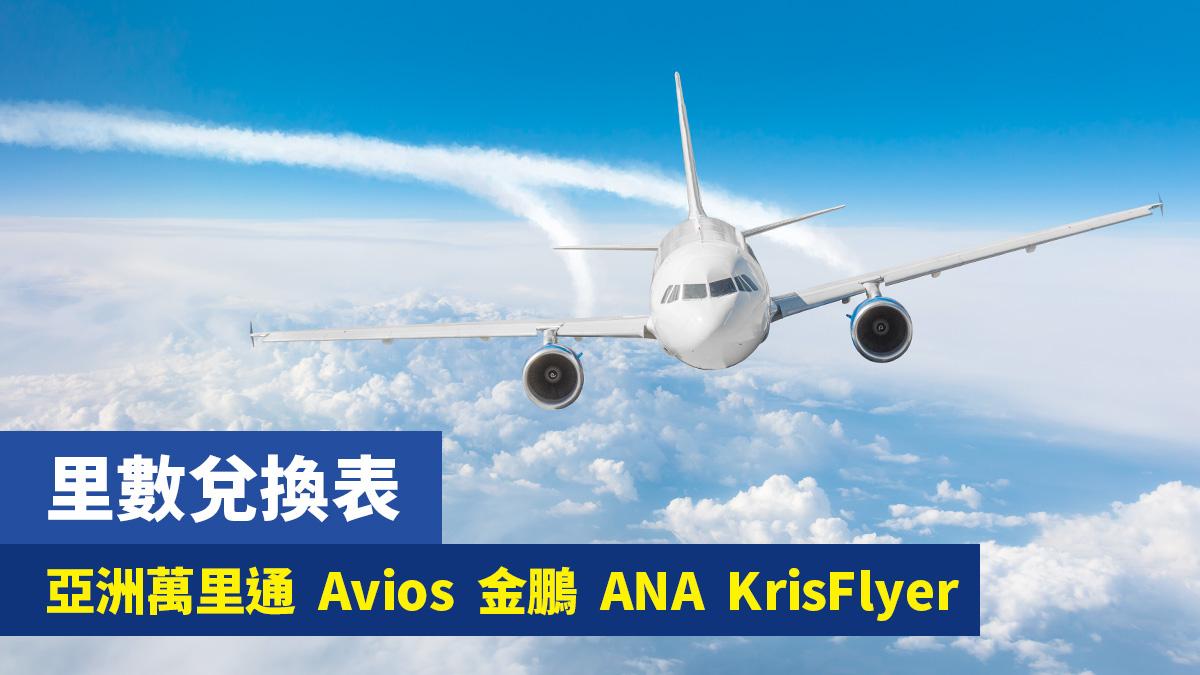飛行里數兌換表 Asia Miles/Avios/FWC/ANA/Krisflyer